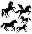 Horse silhouettes set vector image
