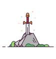 legendary sword in stone vector image vector image