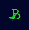 letter b leaf nature eco green logo template vector image