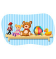 many types of toys on wooden shelf vector image vector image