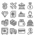 millionaire and big money icons set on white vector image vector image