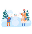 mother and daughter make snowman christmas time vector image vector image