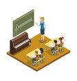 Music lesson at school isometric icon
