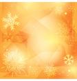 orange christmas background with white snowflakes vector image
