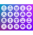 robot shape carved flat icons set vector image