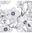 seamless pattern of magnolia and anemones blossom vector image vector image
