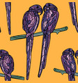 seamless pattern with violet parrots vector image vector image