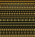 set of borders ornament of gold and precious stone vector image vector image