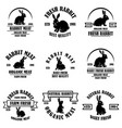 set rabbit meat emblems design element vector image