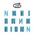 sheet of sprites rotation of cartoon 3d letter n vector image vector image