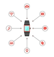 smart watches with social media icons vector image