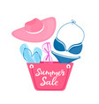 summer sale poster with beach bag swimsuit vector image vector image