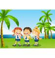 Three pupils at the riverbank vector image vector image