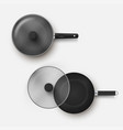 top view set frying pan with lid realistic vector image vector image