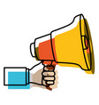 watercolor silhouette of hand holding megaphone vector image vector image