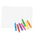 wax crayons on paper background vector image
