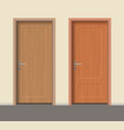 wooden door set interior apartment closed door vector image vector image