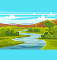 cartoon landscape with mountains river and trees vector image