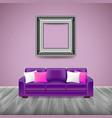 Modern interior with purple sofa vector image
