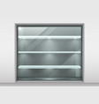 glass showcase with shelves vector image