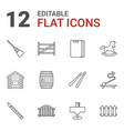 12 wooden icons vector image vector image