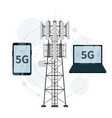 5g mast base stations with smartphone and laptop