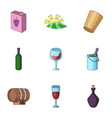 alcoholic drink icons set cartoon style vector image vector image