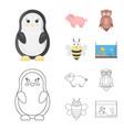 an unrealistic cartoonoutline animal icons in set vector image vector image