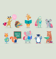 back to school animals hand drawn style education vector image vector image