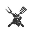 barbecue roast logo template badge design isolated vector image
