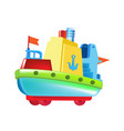 beautiful children s colored boat made of bright vector image