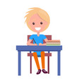 blonde boy with textbooks at school table isolated vector image vector image
