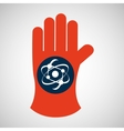 chemical glove with atom science icon vector image vector image