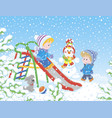children on a toy slide in a winter park vector image