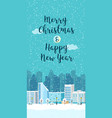 christmas winter city vertical landscape vector image vector image