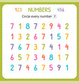 circle every number seven numbers for kids vector image