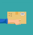 delivery man or postman holds a cardboard box vector image vector image