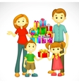Family with Holiday Gift vector image vector image