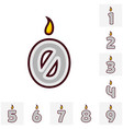 flat design birthday candle set in the shape of vector image