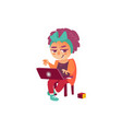 flat teen girl using laptop isolated vector image