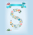 floral letter s with blue ribbon and three doves vector image vector image