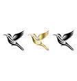 flying hummingbird three color black gold silver vector image vector image