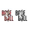 font baseball with baseball player action cartoon vector image