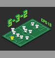 football 5-3-2 formation with isometric field vector image