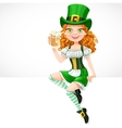 girl leprechaun sitting on the banner white and vector image