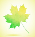 Green watercolor painted autumn maple leaf vector image vector image