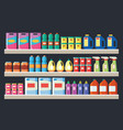 grocery items cleaning products on supermarket vector image vector image