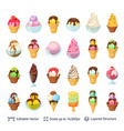 ice cream dessert set 24 items isolated on white vector image
