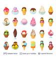 ice cream dessert set 24 items isolated on white vector image
