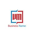 initial letter vm logo template design vector image